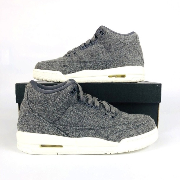 Air Jordan 3 Wool BG Dark Grey Sail White 861427 004 Youth Size SZ 6Y